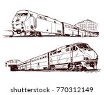 passenger train at the station. ... | Shutterstock .eps vector #770312149