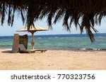 chaise longue at the red sea...   Shutterstock . vector #770323756