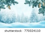 christmas background with fir... | Shutterstock . vector #770324110