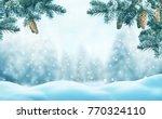 christmas background with fir... | Shutterstock . vector #770324110