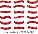 red glossy ribbon vector banners | Shutterstock .eps vector #770326000