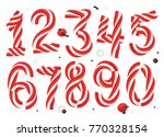 christmas candy cane numbers... | Shutterstock .eps vector #770328154