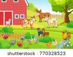 animals life on the farm.... | Shutterstock .eps vector #770328523