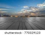 night view of empty brick floor ... | Shutterstock . vector #770329123