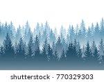 vector misty forest landscape... | Shutterstock .eps vector #770329303
