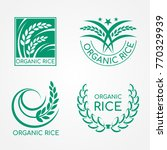 green organic rice logo with... | Shutterstock .eps vector #770329939