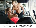 beautiful girl working out with ... | Shutterstock . vector #770330338
