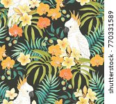 seamless pattern with flowers... | Shutterstock .eps vector #770331589