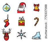 christmas object 9 icons set ... | Shutterstock .eps vector #770337088