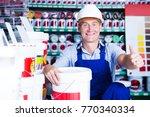 happy builder workman in...   Shutterstock . vector #770340334