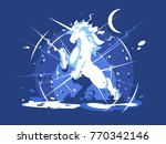 brightly shining unicorn... | Shutterstock .eps vector #770342146