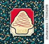 christmas cards 2018 retro style | Shutterstock .eps vector #770342698