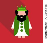 king wearing crown and mantle ... | Shutterstock .eps vector #770346448