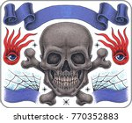 hand drawn old school tattoo...   Shutterstock .eps vector #770352883
