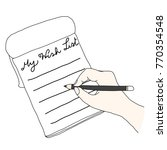 hand holding a pencil writing... | Shutterstock .eps vector #770354548