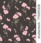 watercolor floral pattern  pink ... | Shutterstock . vector #770355328