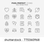 thin line icons set of love and ... | Shutterstock .eps vector #770360968
