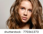 beautiful young woman with... | Shutterstock . vector #770361373