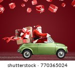 santa claus on car delivering... | Shutterstock . vector #770365024