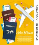 air travel banner with world... | Shutterstock .eps vector #770369593