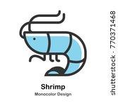 shrimp mono color vector...   Shutterstock .eps vector #770371468