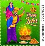 punjabi illustration for lohri... | Shutterstock .eps vector #770375716