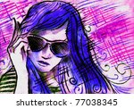the hot  summer girl wearing... | Shutterstock . vector #77038345