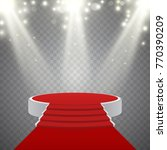round podium with red carpet... | Shutterstock .eps vector #770390209
