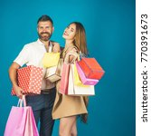 couple in love hold shopping... | Shutterstock . vector #770391673