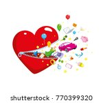 heart with a clasp from which... | Shutterstock .eps vector #770399320
