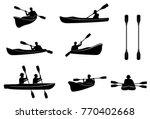 kayaking silhouettes . canoe...   Shutterstock . vector #770402668