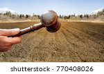wooden gavel in a hand on the... | Shutterstock . vector #770408026