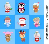 happy new year set.set of cute... | Shutterstock .eps vector #770423884