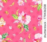 watercolor flower pattern | Shutterstock . vector #770436208