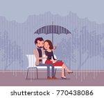 couple in love under umbrella.... | Shutterstock .eps vector #770438086