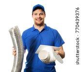 worker in blue uniform with... | Shutterstock . vector #770439376