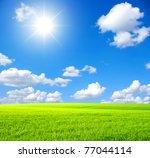 Green Field   Sky And Sun