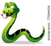 Green Snake Cartoon - stock photo