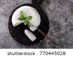 a fresh ricotta with basil leaf ... | Shutterstock . vector #770445028