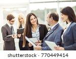 employees discuss their goals... | Shutterstock . vector #770449414