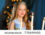 beautiful blonde child girl in... | Shutterstock . vector #770449450