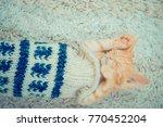 Stock photo little red kitten the kitten lies on the fluffy carpet at home little kitten sleeps close up of 770452204
