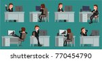 businessman working at the...   Shutterstock .eps vector #770454790