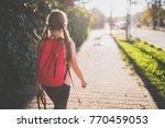 girls wearing red backpack...   Shutterstock . vector #770459053