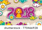 2018 chinese new year banner ... | Shutterstock .eps vector #770466928