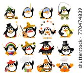 set of cute little penguins on... | Shutterstock .eps vector #770474839