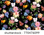 Stock photo watercolor flower pattern black background 770476099