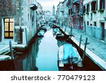 Evening Venice Canal Boats  - Fine Art prints