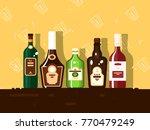 alcohol bottle set. brandy and... | Shutterstock .eps vector #770479249