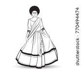 black outline curly short hair... | Shutterstock .eps vector #770494474